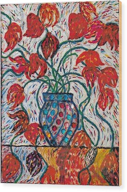 Carnivale Of Flowers Wood Print by Brenda Adams