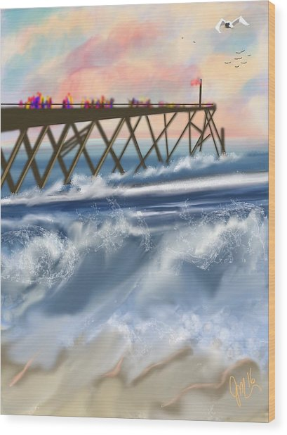 Carolina Beach Wood Print
