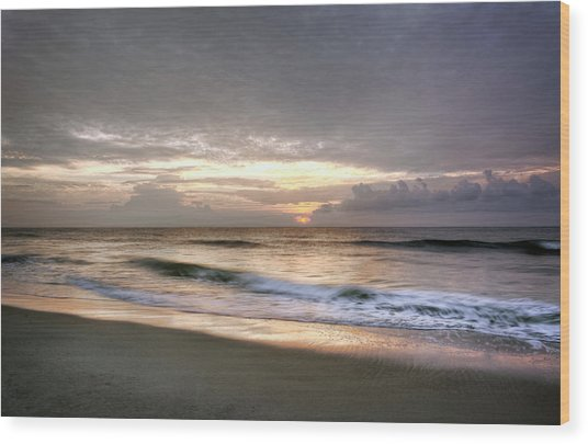 Carolina Beach Morning Wood Print