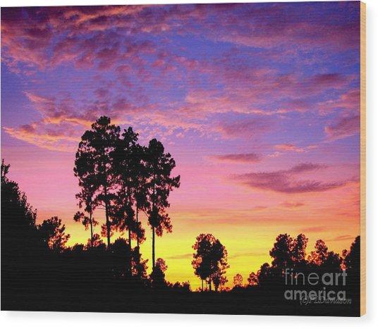 Carolina Pine Sunset Wood Print