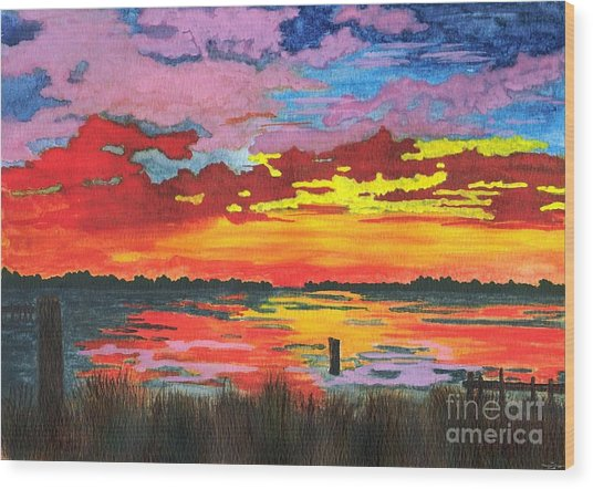 Carolina Sunset Wood Print