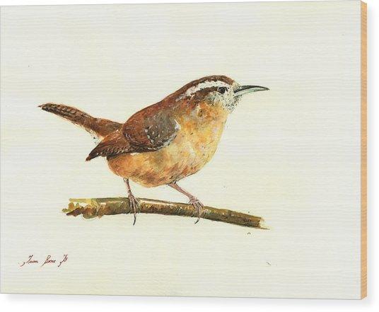 Carolina Wren Watercolor Painting Wood Print