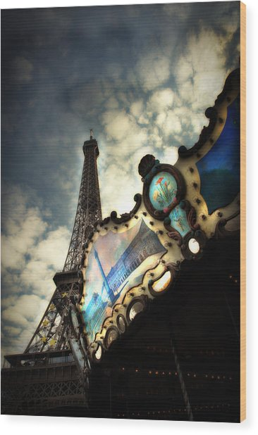 Carousel Eiffel Wood Print by Cabral Stock