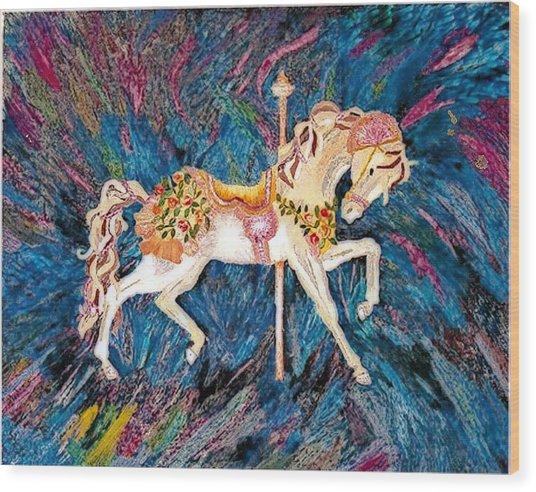 Carousel Horse With Dark Background Wood Print by Brenda Adams