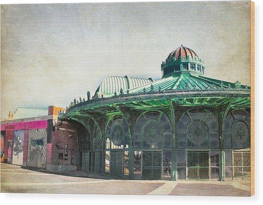 Carousel House At Asbury Park Wood Print