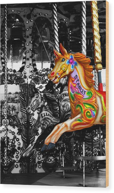 Carousel In Isolation Wood Print