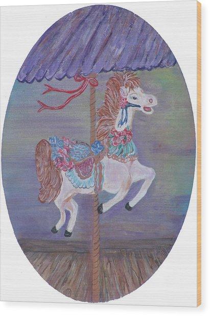 Carousel Wood Print by Mikki Alhart