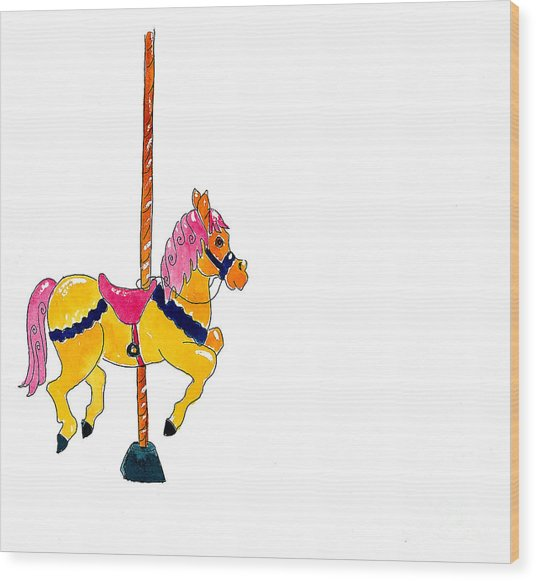 Carousel Pony Wood Print by Leah Wiedemer