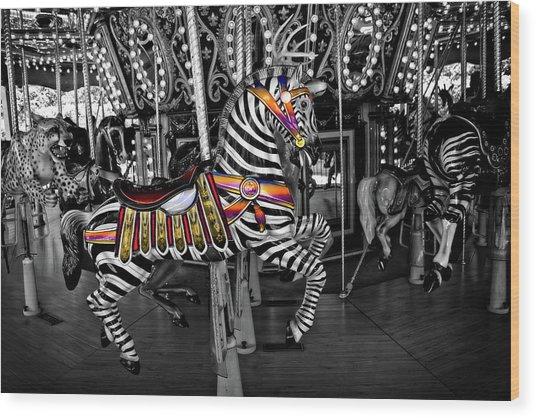 Carousel Zebra Series 2222 Wood Print