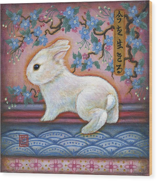 Carpe Diem Rabbit Wood Print