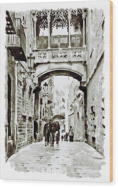 Carrer Del Bisbe - Barcelona Black And White Wood Print
