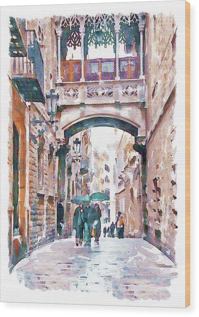 Carrer Del Bisbe - Barcelona Wood Print
