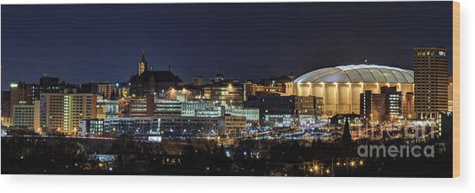 Carrier Dome And Syracuse Skyline Panoramic View Wood Print