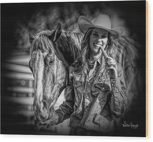 Carrots Cowgirls And Horses  Black Wood Print