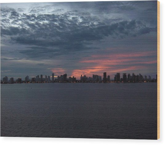 Cartagena Colombia At Sunset Wood Print by Janet  Hall