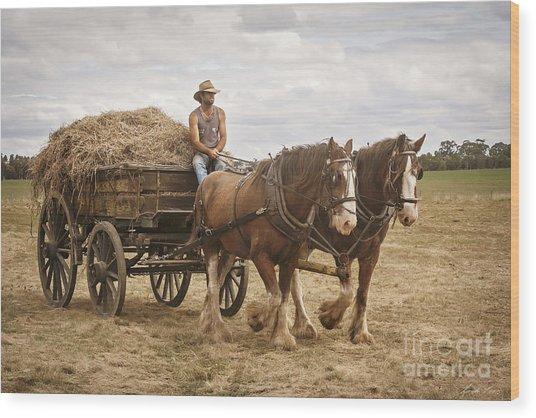 Carting Hay Wood Print