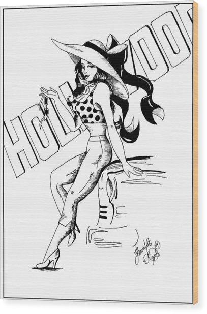 Cartoon Actress Wood Print by Scarlett Royal