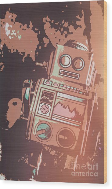 Cartoon Cyborg Robot Wood Print