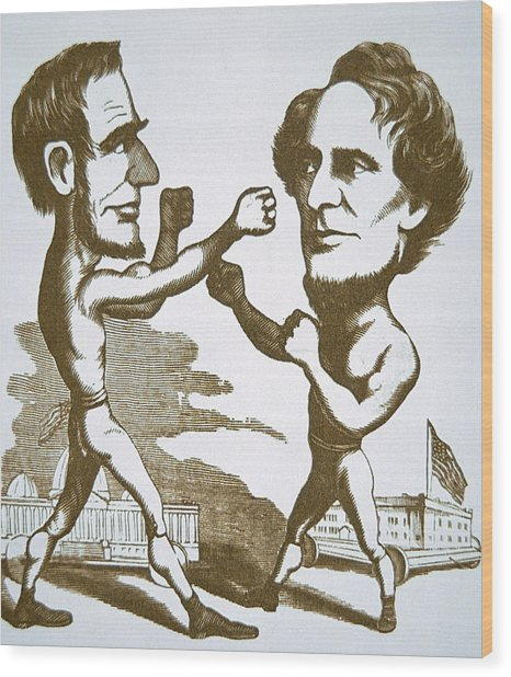 Cartoon Depicting Abraham Lincoln Squaring Up To Jefferson Davis Wood Print