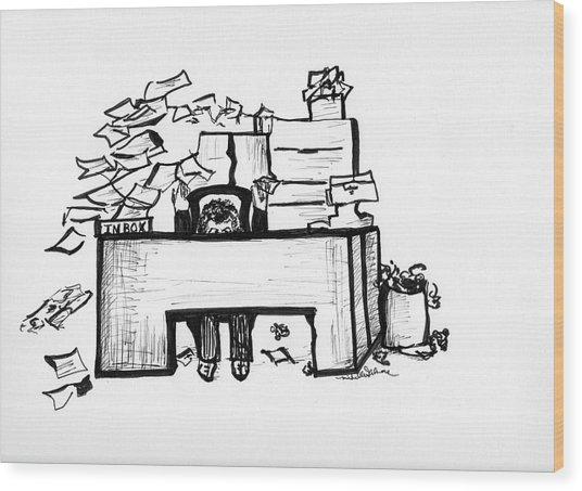 Cartoon Desk Wood Print