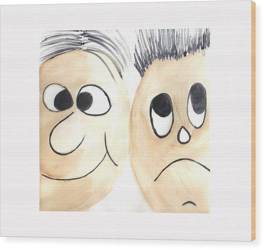 Cartoon Faces Wood Print by Hema Rana