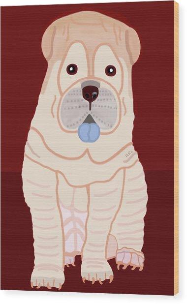 Cartoon Shar Pei Wood Print