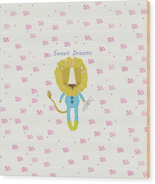 Cartoon Sweet Dreams Lion Wood Print