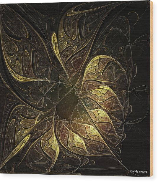 Carved In Gold Wood Print
