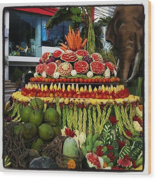 Wood Print featuring the photograph Carved Watermelon, Surin Elephant by Mr Photojimsf