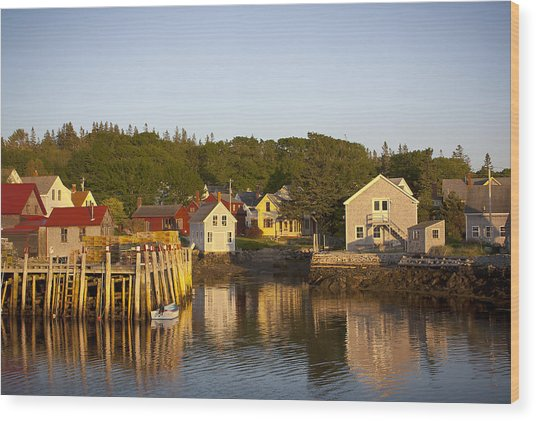 Carvers Harbor At Sunset, Vinahaven, Maine Wood Print