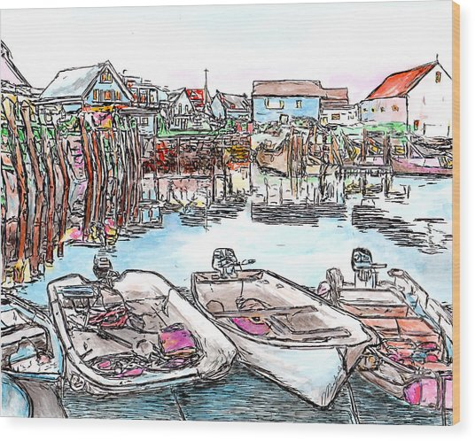 Carvers Harbour With Boats , Vinal Haven,  Maine Wood Print