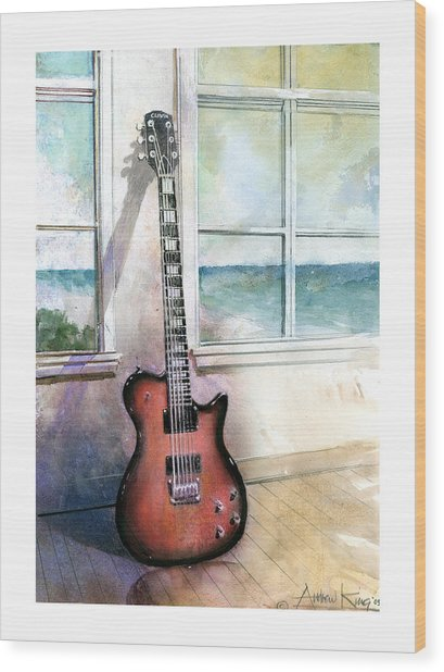 Wood Print featuring the painting Carvin Electric Guitar by Andrew King