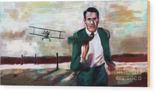 Cary Grant North By Northwest Crop Duster Wood Print
