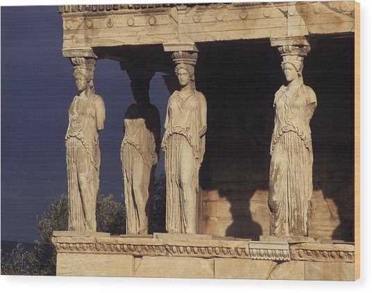 Caryatides At The Acropolis Wood Print