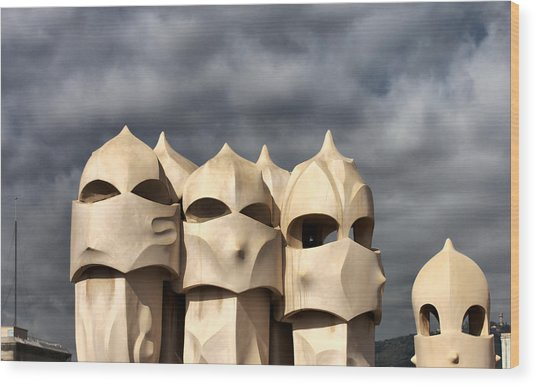 Casa Mila Masks Wood Print