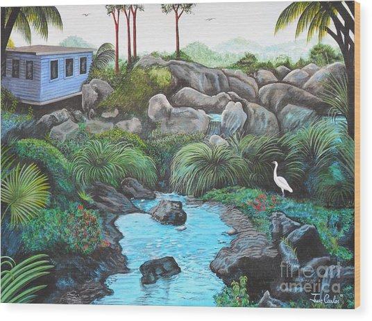 Casa Tropical Wood Print by Juan Gonzalez