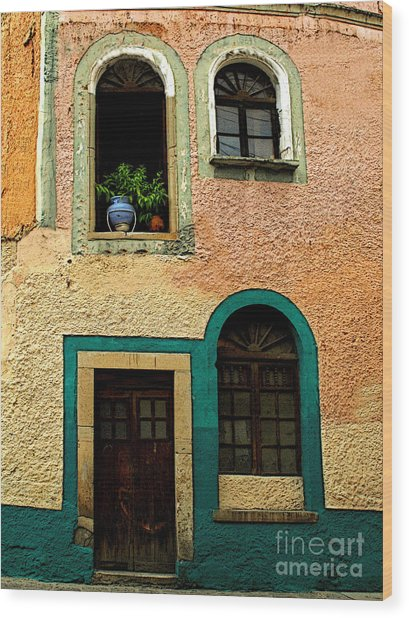 Casa With Sea Green Wood Print by Mexicolors Art Photography