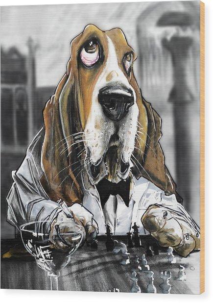 Casablanca Basset Hound Caricature Art Print Wood Print