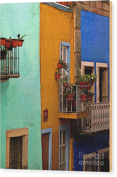 Casas In Mint Terracotta And Blue Wood Print by Mexicolors Art Photography
