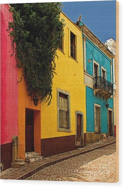 Casas In Pink Orange Yellow Blue Wood Print by Mexicolors Art Photography