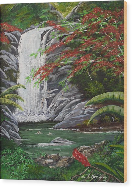 Cascada Tropical Wood Print