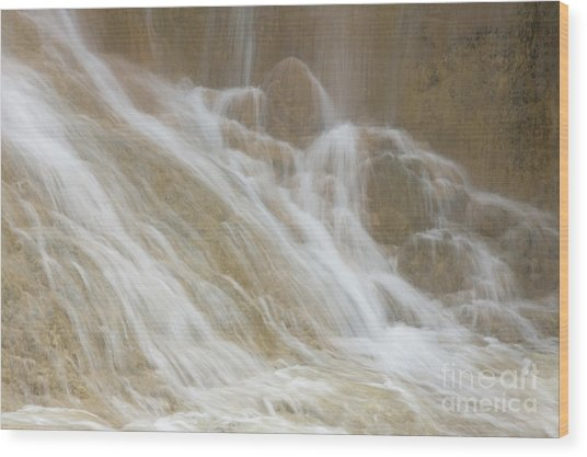 Cascade By The Limestone Pools In Huanglong Wood Print by Julia Hiebaum