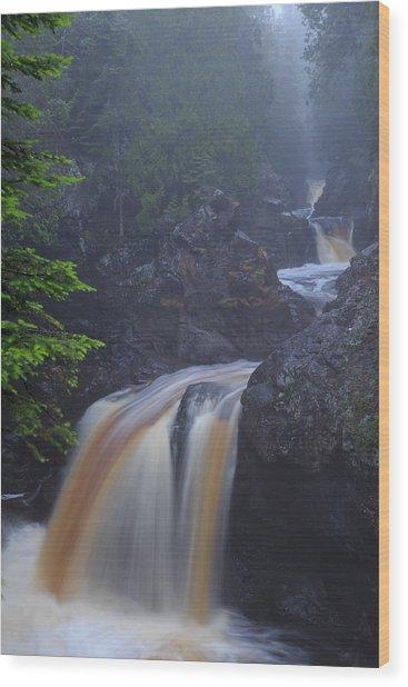 Cascade River Cascade Wood Print