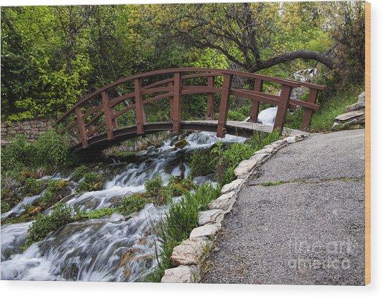 Cascade Springs Bridge Wood Print