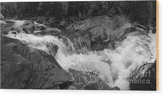 Cascade Stream Gorge, Rangeley, Maine  -70756-70771-pano-bw Wood Print