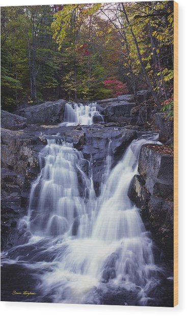 Cascades In Autumn Wood Print