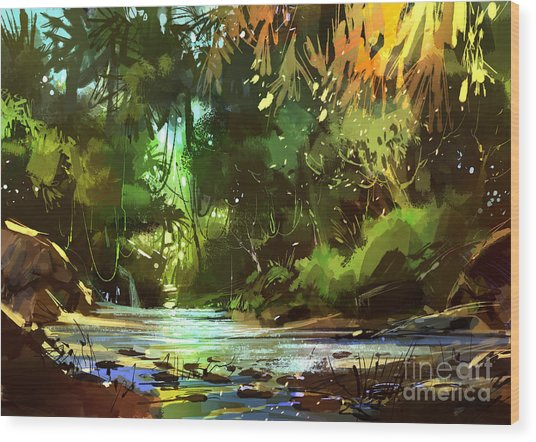 Wood Print featuring the painting Cascades In Forest by Tithi Luadthong