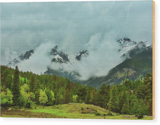Cascading Storm Clouds Wood Print