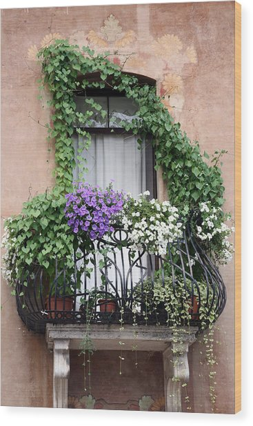 Cascading Floral Balcony Wood Print