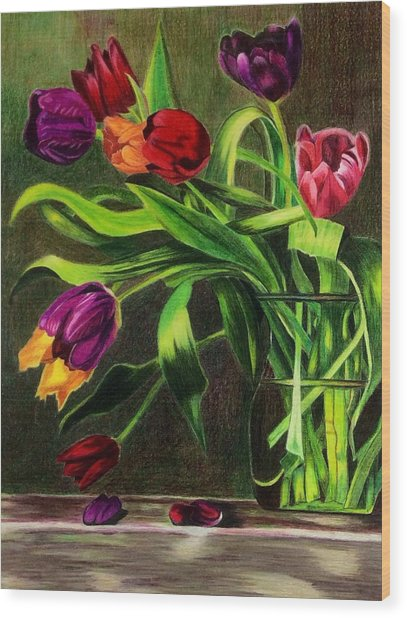 Wood Print featuring the painting Cascading Tulips by Patti Ferron